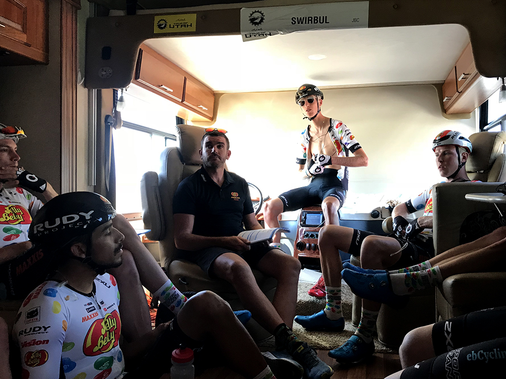 Team Meeting on bus, Tour of Utah 2018